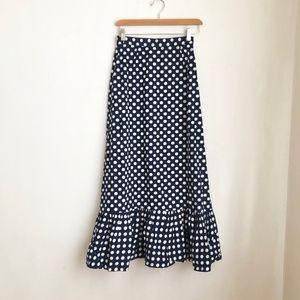 vintage skirt maxi blue polka dot peplum size:XS